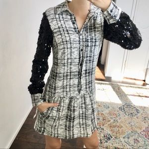 Nic Nation - sequin sleeve plaid dress